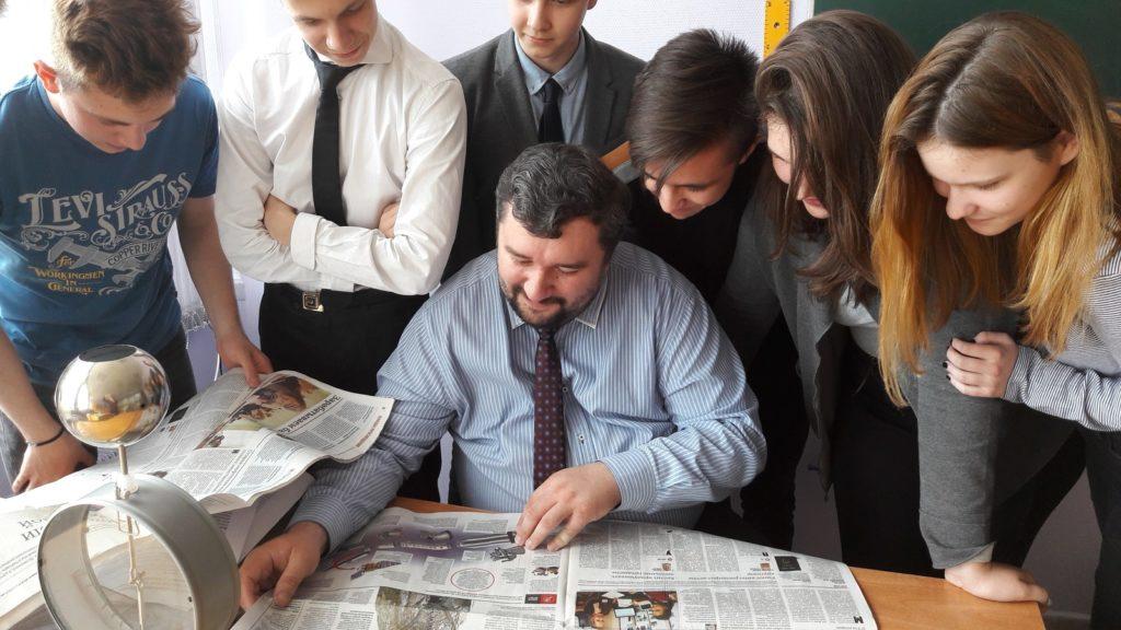 Урок с газетой в школе №1512. Фото: Пресс-служба ГБОУ Школа № 1512