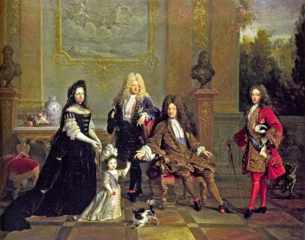 Мода эпохи барокко соответствует во Франции периоду правления Людовика XIV, второй половине XVII века. Фото: Николя де Ларжильер. Портрет Людовика XIV с семьёй, wikipedia.org