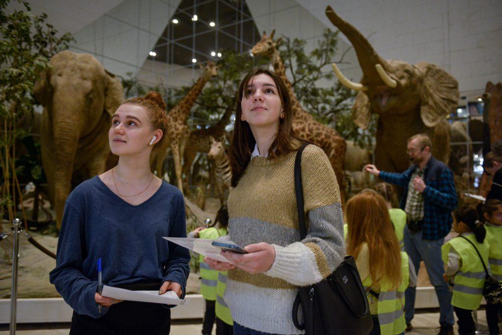 Школьницы Ангелина Манева и Юлия Жердева изучают представленные в Дарвиновском музее экспонаты, ища ответы на заданные в рамках олимпиады «Музеи. Парки. Усадьбы» вопросы, ФОТО: Наталья Феоктистова, «Вечерняя Москва»