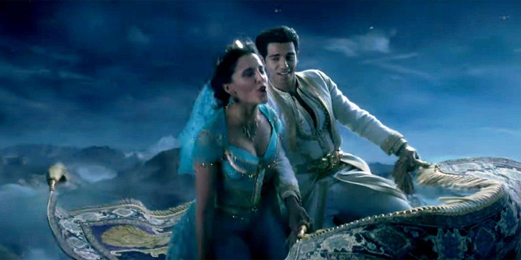 Кадр из фильма «Аладдин». Рисунок полета на ковре