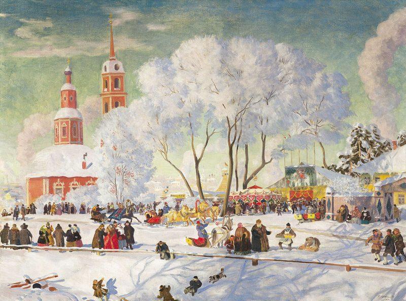 Масленицу писали многие известные художники, например Борис Кустодиев: «Масленица», 1920 год