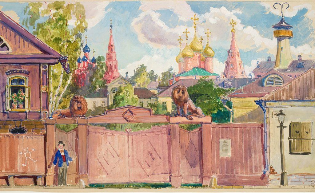 Женитьба Бальзаминова, 1964 год, Эскиз декорации. Бумага, гуашь